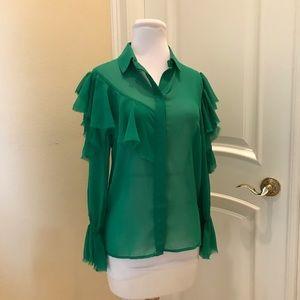ASOS Kelly green cold shoulder blouse